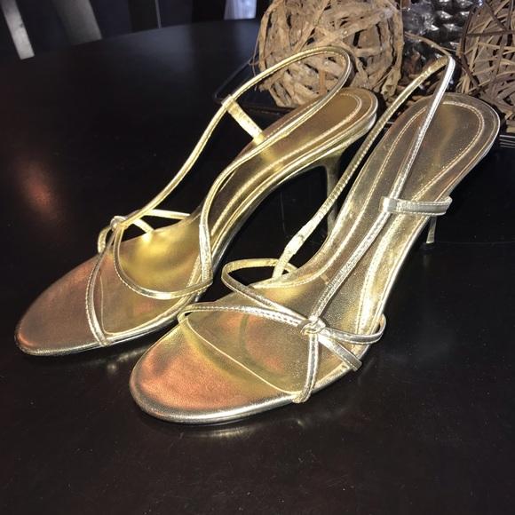 b44850b4780 Nine West gold Strappy heels sandals shoes 👠 sz 8.  M 5c7069c34ab63353d717831c